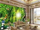 Forest Stream Wall Mural 3d Wallpaper Sunshine forest Dream Nature Bird Figure Parrot