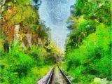 Forest Stream Wall Mural & Art Print Railway Among Green Summer forest Oil