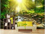 Forest Stream Wall Mural [selbstklebend] 3d forest Stream Under the Sun Fototapete Wall Print Decal Murals