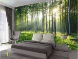 Forest Wall Mural Bedroom Sunny forest Wallpaper Removable Tree Wall Paper Luxuriantly