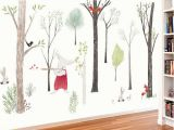 Forest Wall Mural Nursery Music forest Wall Sticker Cartoon Home Decor Diy Bedroom Kids Room Nursery Background Mural Art Decals Poster Sticker Y Star Stickers