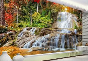 Forest Wall Mural Painting Custom Wallpaper Murals 3d Hd forest Rock Waterfall Graphy Background Wall Painting Living Room sofa Mural Wallpaper Canada 2019 From