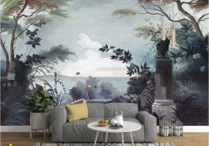 Forest Wall Mural Painting Dark forest and Seascape with Pelican Birds Wallpaper Mural