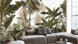 Forest Wall Mural Painting Hand Painted Tropical Rainforest forest Wallpaper Wall Mural