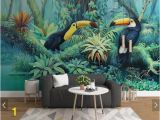Forest Wall Mural Painting Tropical toucan Wallpaper Wall Mural Rainforest Leaves