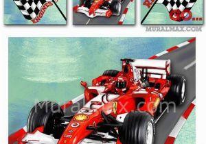 Formula One Wall Murals Race Car Set 3 Canvas Nursery Art Race Car Wall by