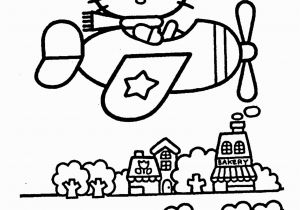 Free Coloring Page Hello Kitty Hello Kitty On Airplain – Coloring Pages for Kids