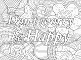 Free Coloring Pages for Adults Printable Hard to Color Don T Worry Be Happy Positive & Inspiring Quotes Adult