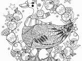 Free Printable Christmas Zentangle Coloring Pages Christmas Goose with Apples Zentangle Coloring Page