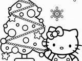 Free Printable Hello Kitty Christmas Coloring Pages Hello Kitty and Christmas Tree Coloring Page