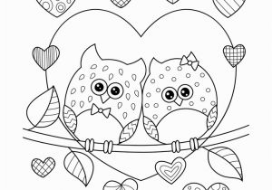 Free Printable Valentines Day Coloring Pages for Adults Owls In Love with Hearts Coloring Page • Free Printable