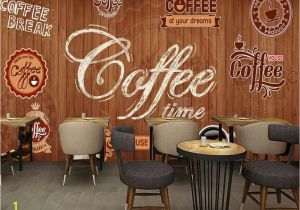 French Cafe Wall Murals Beibehang Custom Wallpaper Murals Wood Shading Retro Coffee Label