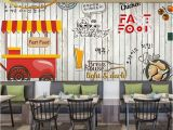 French Cafe Wall Murals Custom Photo Wallpaper Fried Chicken Beer Large Wallpaper Mural