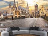 French Cafe Wall Murals Wallpaper Custom 3d Wall Murals European City Building
