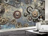 French Cafe Wall Murals Wallpaper Modern Retro Mechanical Gear 3d Wall Murals Ktv Bar