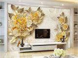 French Country Wallpaper Murals 3d Wallpaper European Style Golden Diamond Flower Jewelry Backdrop