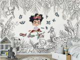 Frida Kahlo Wall Mural Children S Mural Frida Kahlo Children S Wallpaper Black and White Mural Mural Jungle Animals Nature Mural Frida Kahlo Jungle