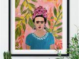 Frida Kahlo Wall Mural Frida Kahlo Mexican Art Monstera Leaves 14×17 original
