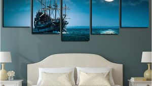 Full Moon Wall Murals 2019 5 Panels Canvas Print Wall Art Sailboat Seascape Picture Full Moon Night Sea Moonlight Ocean Ship Artwork Blue Ocean Poster From