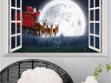 Full Moon Wall Murals 3d False Window Santa Claus Wall Decal Room Bedroom Merry Christmas Decorations Sticker Mural Hot Poster Home Decor 10styles Wall Stickers Kids Wall
