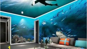Full Room Wall Murals 3d Sharks Shadow Underwater Entire Room Wallpaper Wall