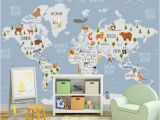 Full Wall Map Mural Kids Wallpaper World Map Wall Mural Cartoon Animal Wall