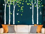 Full Wall Murals forest Fymural 5 Trees Wall Decals forest Mural Paper for Bedroom Kid Baby Nursery Vinyl Removable Diy Decals 103 9×70 9 White Green
