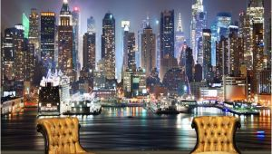 Full Wall Murals New York Custom Mural Wallpaper 3d New York City Night Scenery Mural