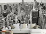 Full Wall Murals New York Retro Nostalgic New York Black and White 3d City sofa Tv Background