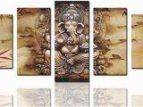 Ganesha Mural Wall Art Canvas Art Prints Framed Hindu Fairy Wall Art India Ganesha Yoga Goddess Elephant Wall Decor