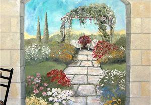 Garden Mural Stencils Garden Mural On A Cement Block Wall Colorful Flower Garden Mural