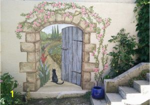 Garden Mural Stencils Secret Garden Mural Painted Fences Pinterest