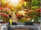Garden Scene Wall Murals Custom Mural Wallpaper 3d Stereo Sunshine Garden Scenery Wall Painting Living Room Bedroom Home Decor Wall Papers for Walls 3 D