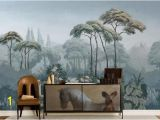 Garden Scene Wall Murals Oil Painting Scenic Pine Trees Wallpaper Wall Mural Custom