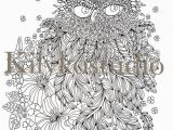 Gel Pen Coloring Pages Feathery Owl & Flowers Adult Coloring Page Instant Digital