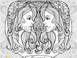 Gemini Coloring Pages Coloring Page with Pattern and Zodiac Sign Gemini In Zentangle Style