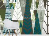 Geometric Wall Murals Uk forest Green Geometric