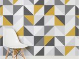 Geometric Wall Murals Uk Yellow and Grey Abstract Geometric Design Square Wall Murals