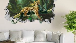 Giant Coloring Wall Murals 3d forest Leopard Roar 44 Wall Murals Wall Stickers Decal