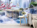Giant Scenic Wall Mural 3d Wallpaper Mural Beautiful Plum Blossom Waterfall Scenery Living Room Bedroom Beautifully Decorated Wallpaper Hd Wallpaper Hd Wallpaper Hd