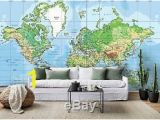 Giant Wall Map Mural 3d World Map Earth Self Adhesive Removable Wallpaper Room