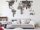 Giant Wall Map Mural Big Letters World Map Wall Sticker Decals Removable World Map Wall Sticker Murals Map Of World Wall Decals Vinyl Art Home Decor