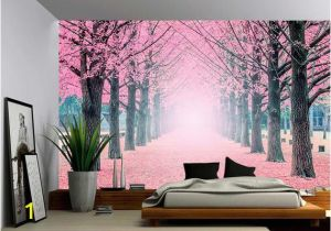 Giant Wall Mural Decals Foggy Pink Tree Path Wall Mural Self Adhesive Vinyl Wallpaper Peel & Stick Fabric Wall Decal