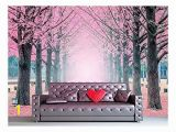 Giant Wall Mural Photo Wallpaper Wall Mural Lane Of Pink Fallen Leaves with Trees by Each Side Vinyl Wallpaper Removable Wall Decor