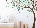 Giant Wall Sticker Murals Huge Removable Green Tree&birds Wall Stickers Home Decor