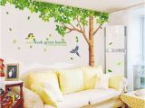 Giant Wall Sticker Murals Vinyl Wall Sticker Decal with Big Green Tree and Birds for