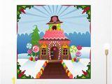 Gingerbread House Wall Mural Amazon Wallmonkeys Wm Snowy Gingerbread House
