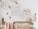 Girl Nursery Wall Murals Decorating Ideas for A White Rose Pink and Gold Baby Girl
