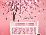 Girl Nursery Wall Murals Plum Flower Blossom Tree butterfly Personalized Custom Name
