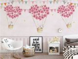Girl Room Mural Wall Nursery Wallpaper for Kids Pink Hot Air Balloon Wall Mural Cartoon Rabbit Wall Art Girls Boys Bedroom Baby Room Play Room Children Rooms